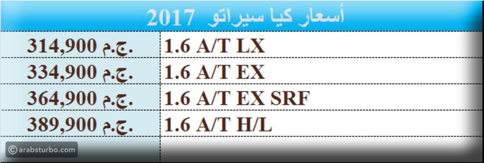 أسعار كيا سيراتو 2017 الشكل الجديد في السوق المصري