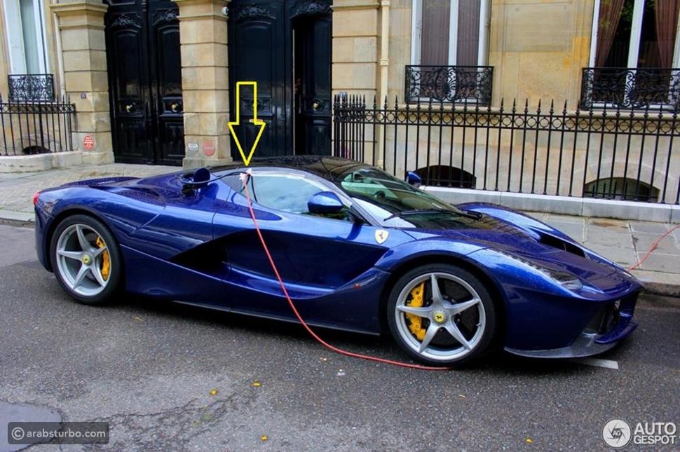 صور لن تصدقوا ماذا فعل مالك فيراري لافيراي لكي يشحن محركها الكهربائي!