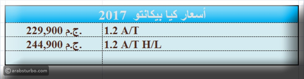 أسعار كيا بيكانتو 2017 في السوق المصري