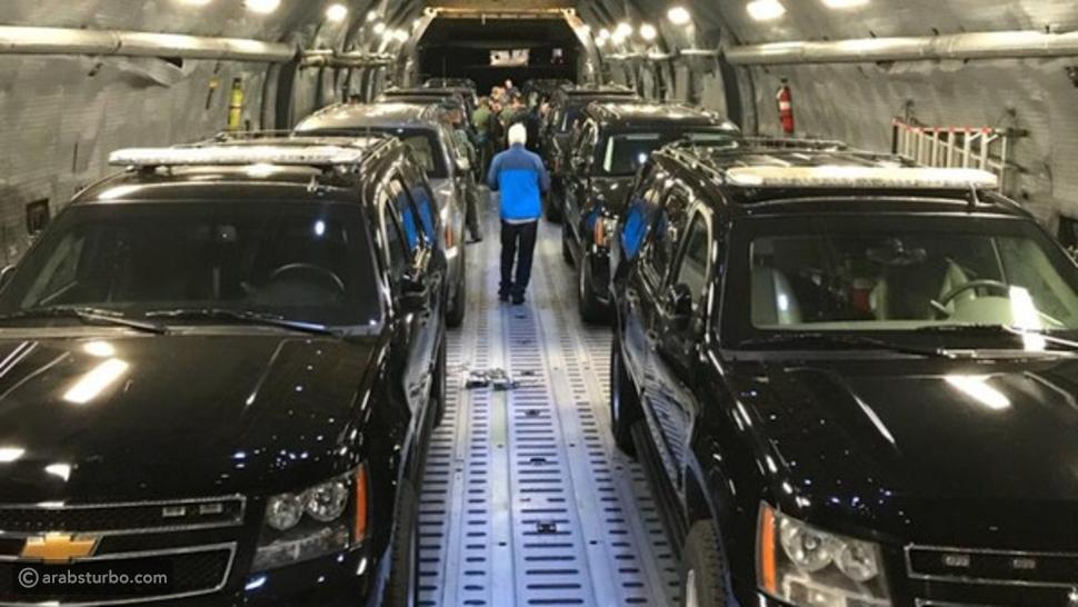 أسطول سيارات ترامب التي تسافر معه جواً... أغرب من الخيال