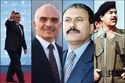 الرئيس الأسبق حسني مبارك، وملك الأردن الراحل حسين بن طلال، والرئيس العراقي الراحل صدام حسين والرئيس اليمني الأسبق على عبدالله صالح